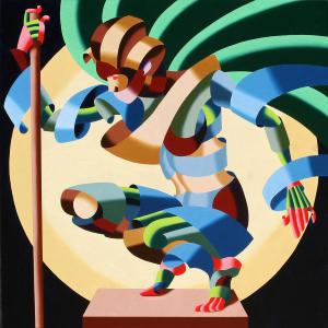 Felicia 1424 - Soyut fütüristik yağlı boya çalışma. Mark Foster.